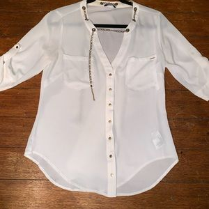White Bebe button down snaps shirt extra small